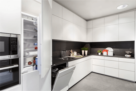 Cocina blanca con electrodomésticos - muebles de cocina en madrid