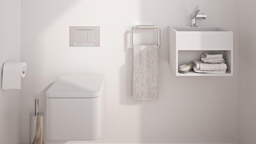 Baño blanco completo - decoración baños pequeños