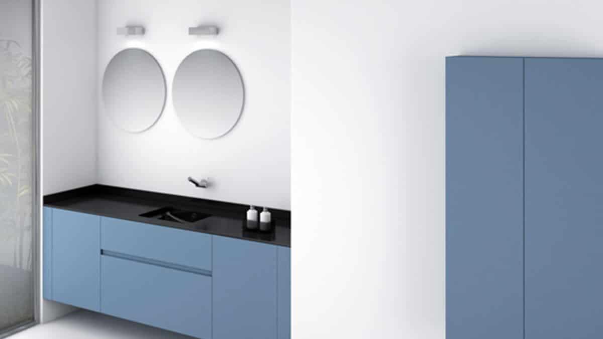 Baño azul y blanco - muebles de baño