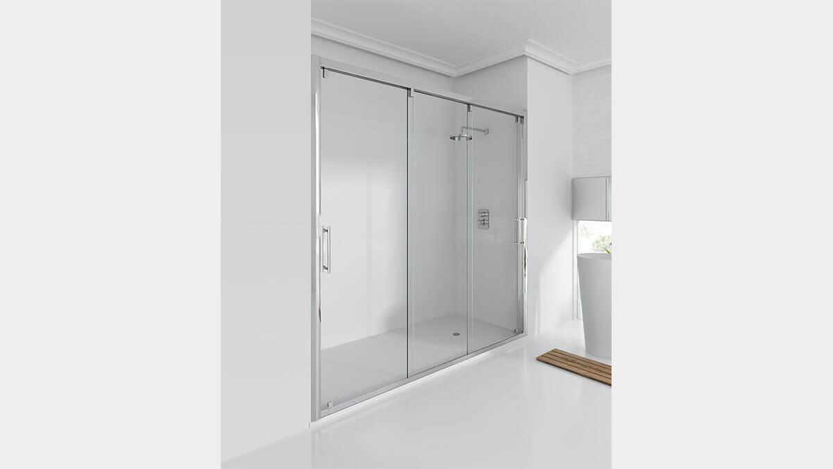 Baño blanco con mampara de ducha - muebles de baños