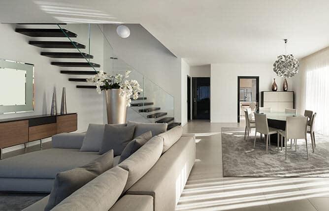 Salón comedor con escalera de fondo - muebles de hogar