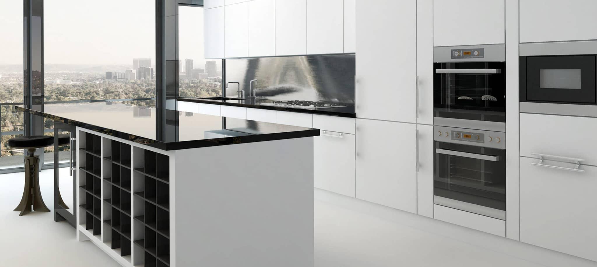 Cocina con isla blanca y negra - muebles de cocina en madrid