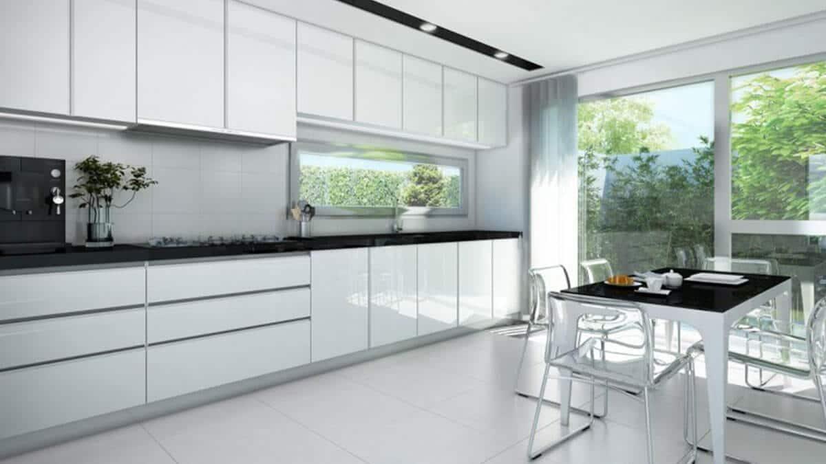 Cocina blanca y negra con mesa Serie Hölst - muebles de cocina en Madrid