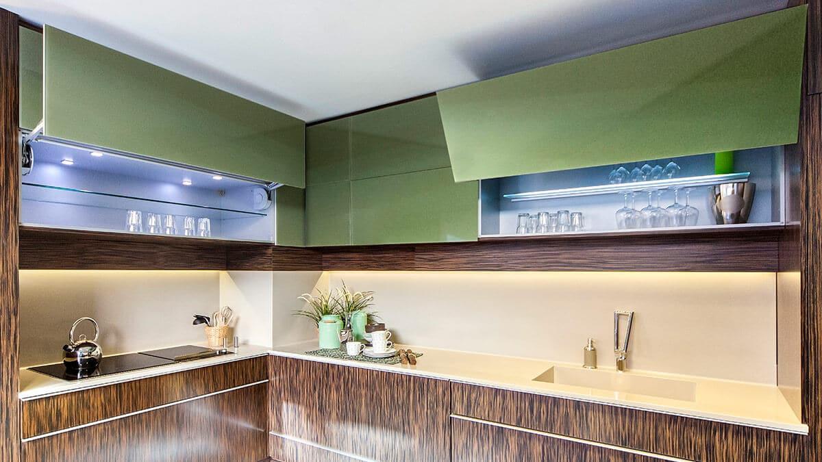 cocina moderna verde y marrn serie stuttgart muebles de cocina en madrid