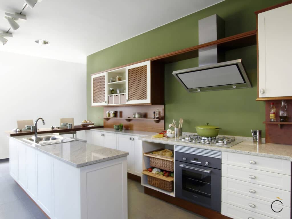 Cocina rústica blanca moderna - Cocinas con península