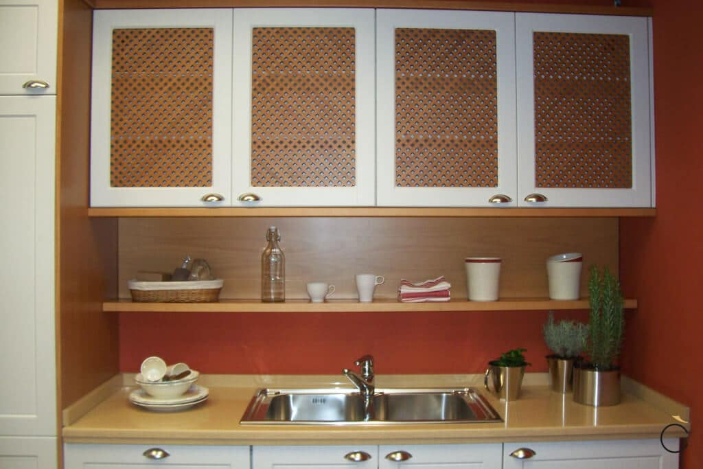 Cocina rústica blanca y madera pequeña - cocinas rústicas modernas