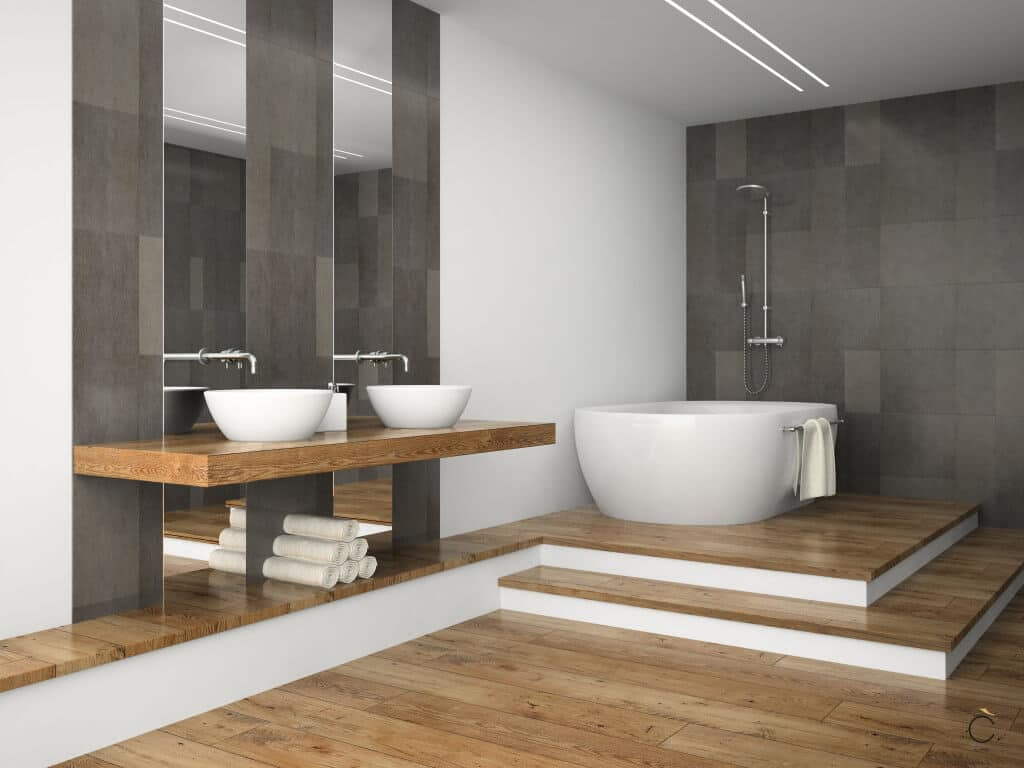 Baño moderno con bañera y dos senos a juego - Muebles a medida