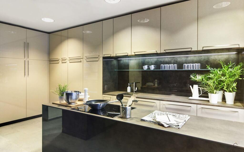 Cocinas modernas con isla laminado lacado brillo con encimera thesize Iron